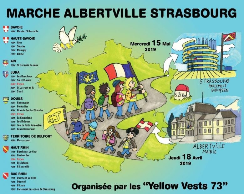 "Calendrier des ""Yellows Vests 73"" d'Albertville à Strasbourg / © Illustration : Jessy Chanlaud"