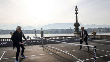 Swiss tennis champion Roger Federer (R) and Swedish tennis legend Bjorn Borg play tennis on February 8, 2019 in Geneva as they arrive for a press conference ahead of the Laver Cup tournament that will take place in Geneva on the week-end of the 20th of September / © Stefan Wermuth/AFP
