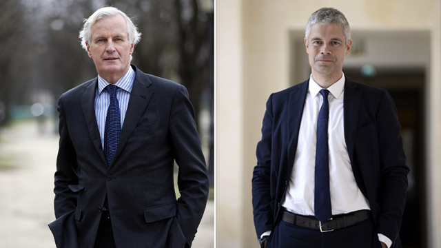 Michel Barnier / Laurent Wauquiez / © THOMAS-SAMSON / AFP - STEPHANE DE SAKUTIN / AFP