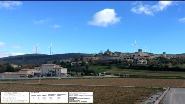 "Photo montage du collectif ""Sauvegarde du Barrès"" du village de Saint-Vincent-de-Barrès avec des éoliennes / © France 3"