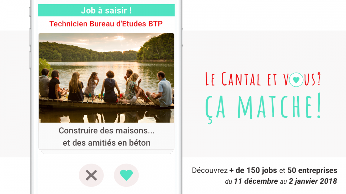La campagne de communication s'inspire des applications de rencontre sur internet. / © CCI Cantal
