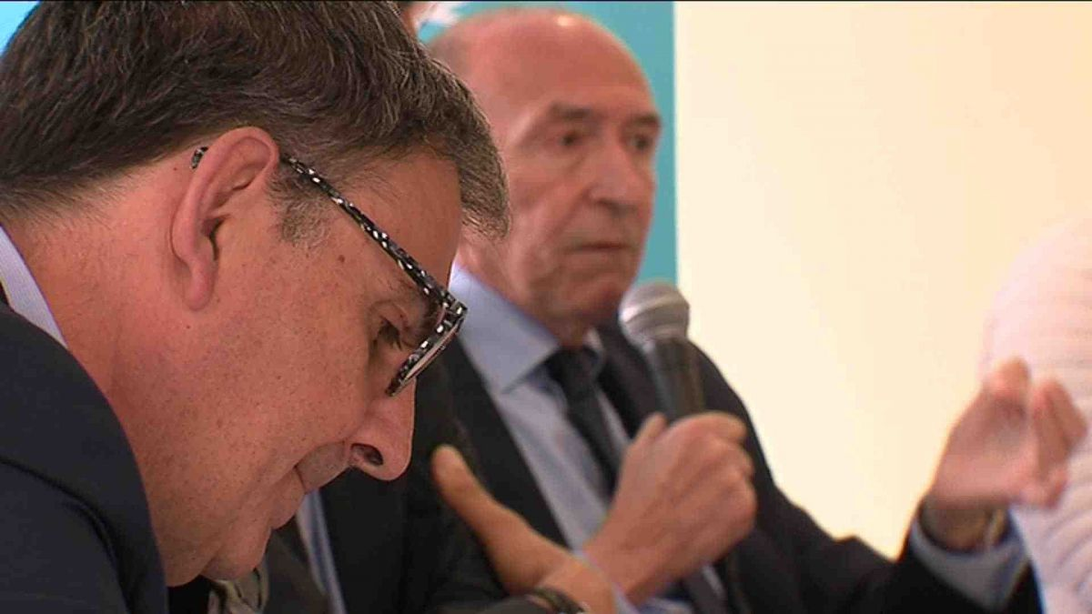Gérard Collomb et David Kimelefeld à Lyon, le 1er avril 2019. Photo d'archive. / © A. Jacques / France 3 Rhône-Alpes