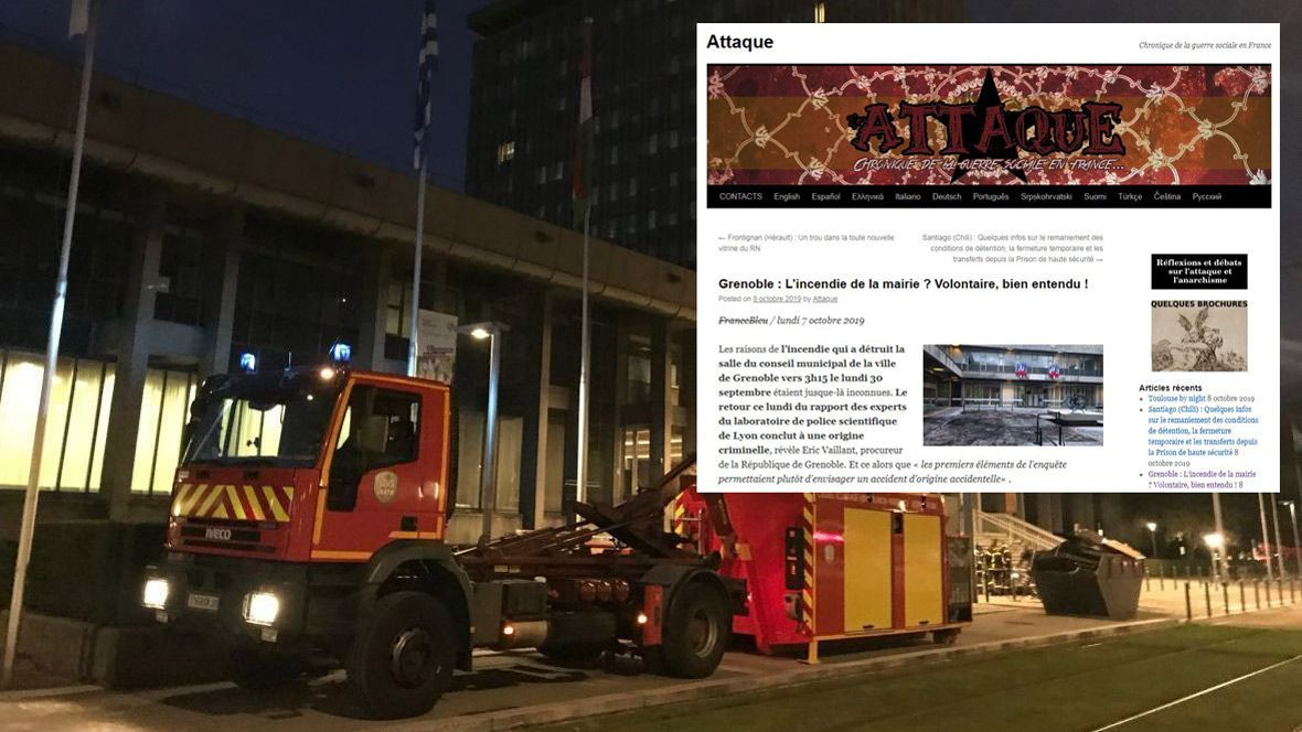 "Grenoble : des blogs anarchistes se félicitent de l'incendie ""criminel"" de la mairie"