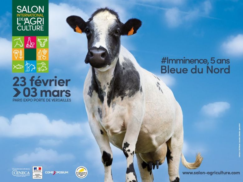 L'affiche de l'édition 2019, avec la vache Imminence, de la race bleue du Nord. / © Salon international de l'agriculture