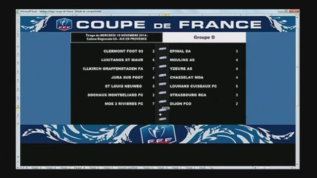 Football r sultats du tirage du 8 me tour de la coupe de france france 3 franche comt - Resultat coupe de la ligue en direct ...