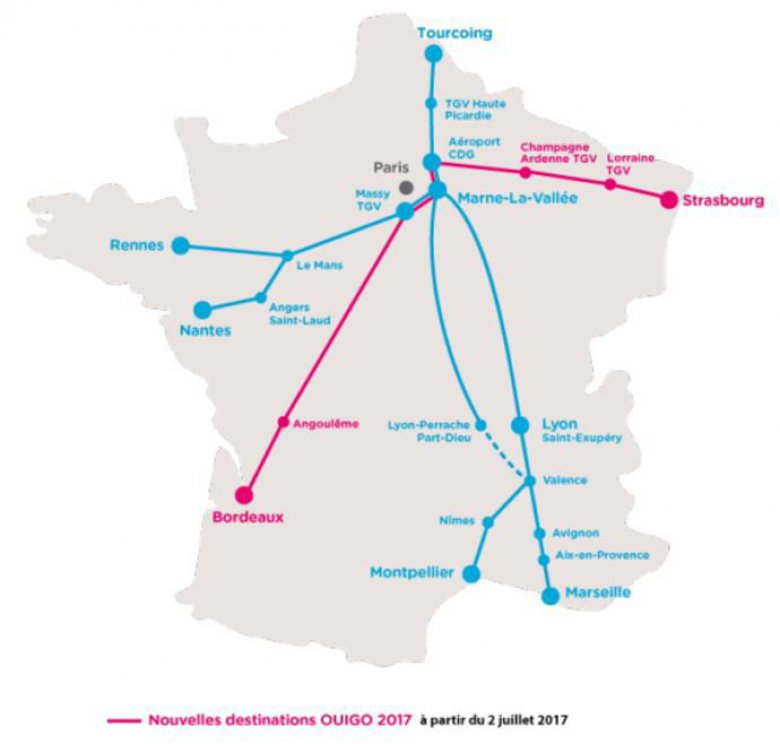 Destinations Ouigo / © SNCF