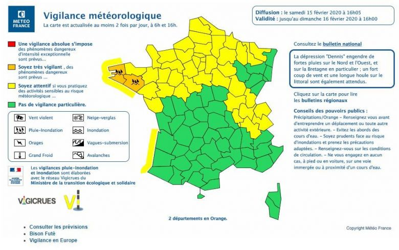 Bulletin de vigilance du 15/02/2020, 16h / © Capture site Météo France