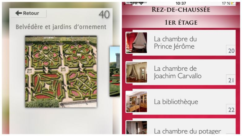 "Captures d'écran de l'application ""Villandry"" / © Château de Villandry / Comediart"