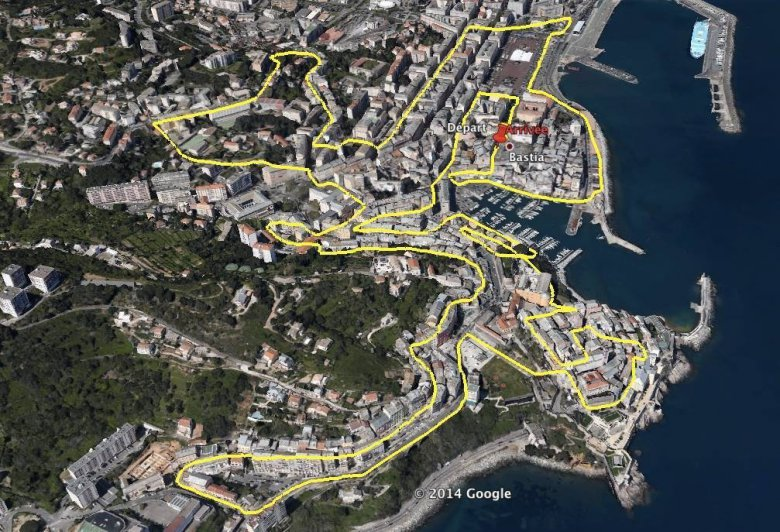 "Le parcours du premier Urban Trail de Bastia, Trail ""Spassighjata"" in Bastia / © Capture d'écran Google Map / Association ""A Spassighjata"""