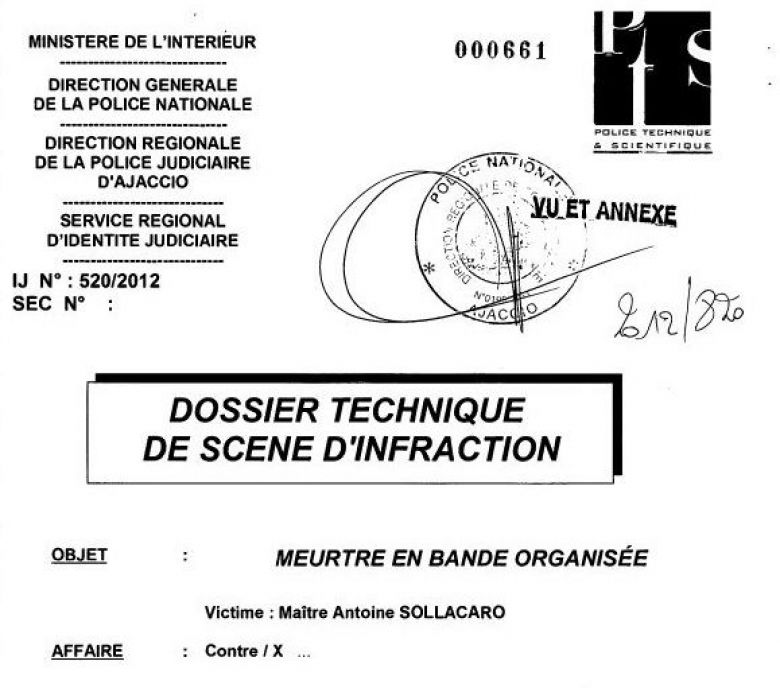 Le dossier technique de scène d'infraction pour l'assassinat d'Antoine Sollacaro. / © Document France 3 Corse