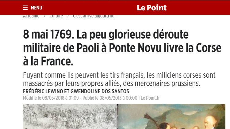 "Quand le Point.fr revisite le 8 mai 1769, dans un article ""raciste et falsificateur"" selon le député nationaliste Jean-Félix Acquaviva. / © Capture d'écran Le Point.fr"