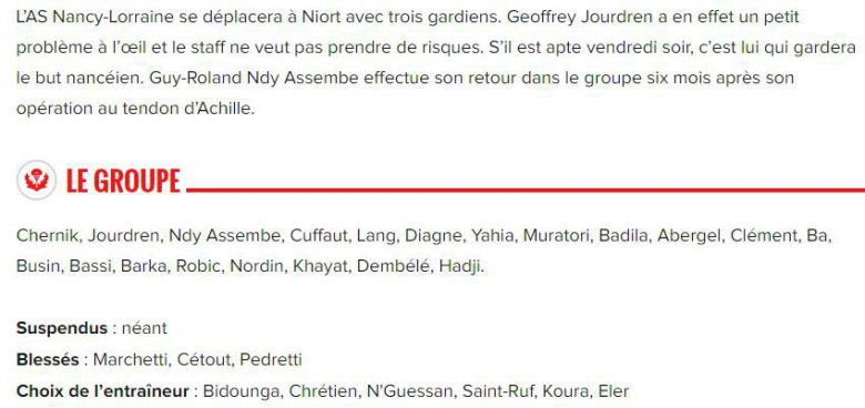Chamois Niortais FC vs AS Nancy Lorraine : le groupe de Nancy / © asnl.net, site officiel du club