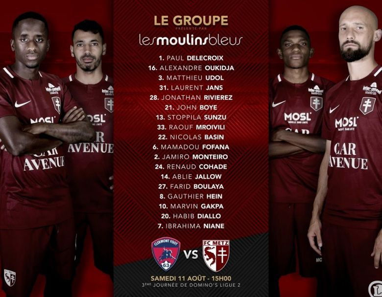 Clermont Foot 63 vs FC Metz : le groupe de Metz / © fcmetz.com, site officiel du club
