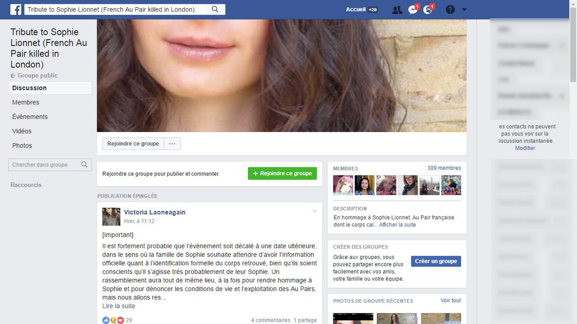 Tribute to Sophie Lionnet (French Au Pair killed in London) - FACEBOOK / © Facebook