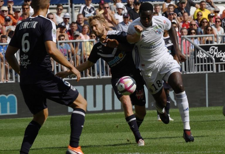 Ibrahima Sissoko a marqué le premier but du Racing contre Bordeaux / © MEHDI FEDOUACH / AFP