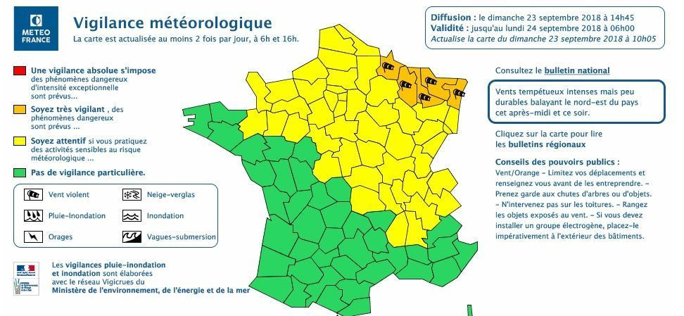 Alsace Carte De Vigilance Orange.Vents Violents Cinq Departements Dont Le Bas Rhin Places