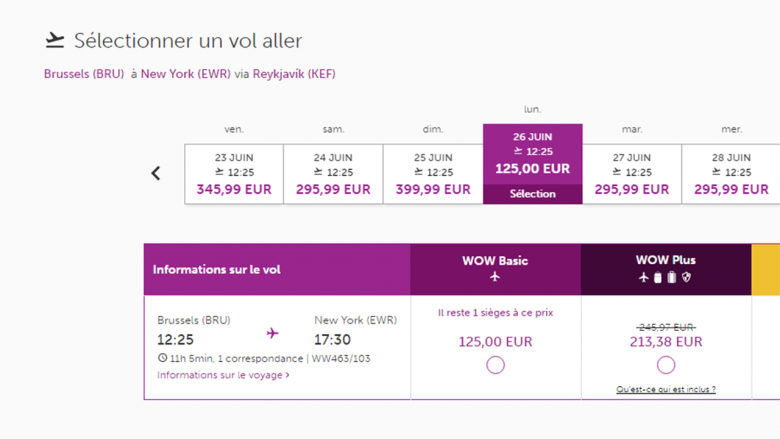 Capture d'écran du site Wow air.
