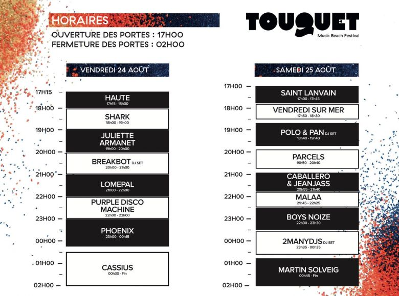 Horaire de passages Touquet Music Beach / © Touquet Music Beach