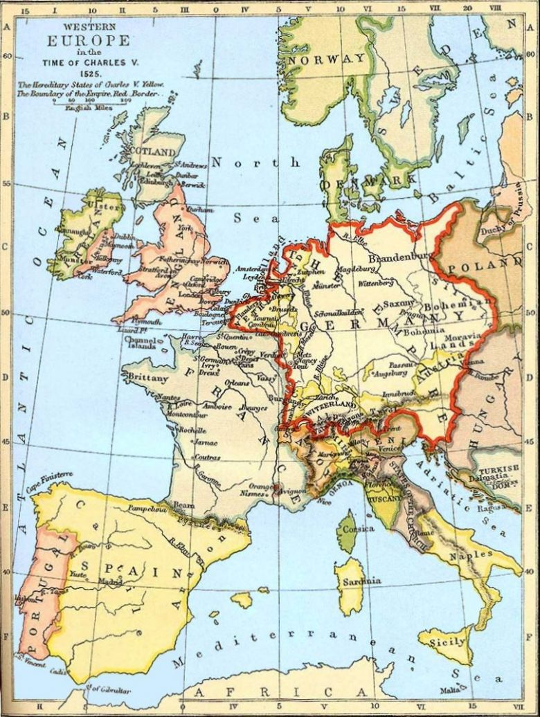 Une carte de l'Europe en 1525 / © A SCHOOL ATLAS OF ENGLISH HISTORY