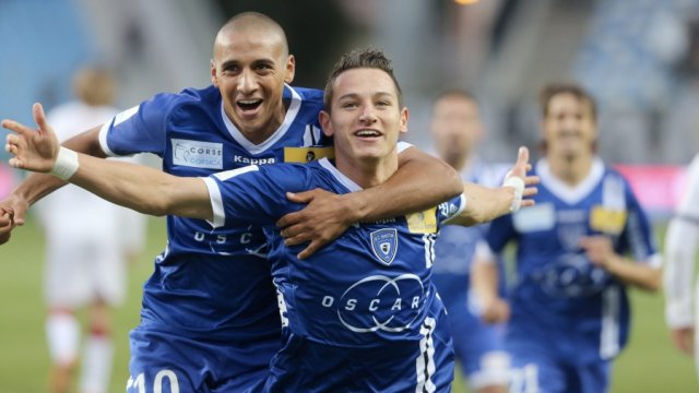 Florian Thauvin, après son premier but en ligue 1, le 28 octobre 2012 face à Bordeaux / © MAXPPP