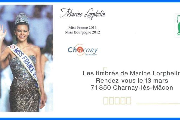 Des enveloppes pré-timbrées à l'effigie de Marine Lorphelin et de la ville de Charnay-les-Mâcon sont mises en vente à partir du 13 mars 2013.