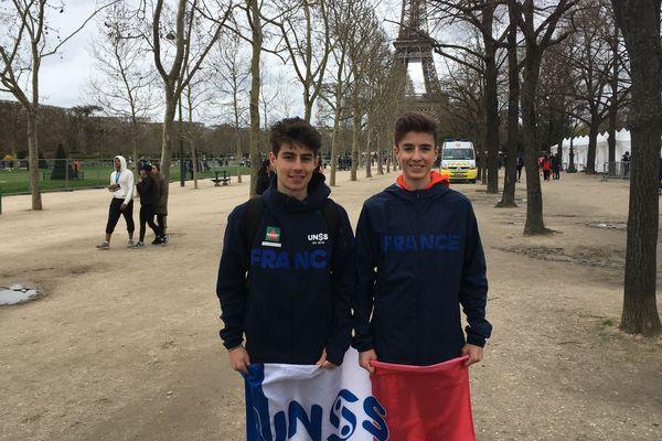 Félix et Etienne, athlètes au championnat du monde de cross-country (sport scolaire), à Paris, le 4 avril 2018.