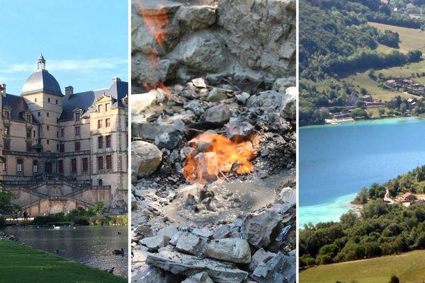 Quelques unes des destinations desservies par le réseau estival de bus du SMMAG : le château de Vizille, la fontaine ardente du Gua et le lac de Paladru. Images d'illustration.