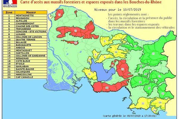 Carte d'accès aux massifs forestiers dans les Bouches-du-Rhône