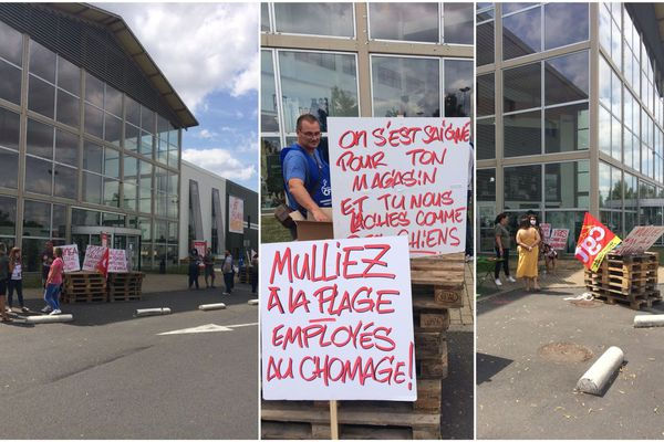 Menacés de licenciement, les 51 salariés du magasin d'ameublement Alinéa de Noyelle-Godault se mobilisent en ce premier samedi de soldes.
