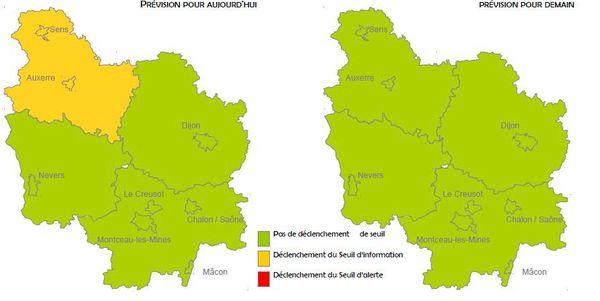 La prévision pour le 21 janvier montre que l'Yonne devrait dépasser le seuil d'information et de recommandation