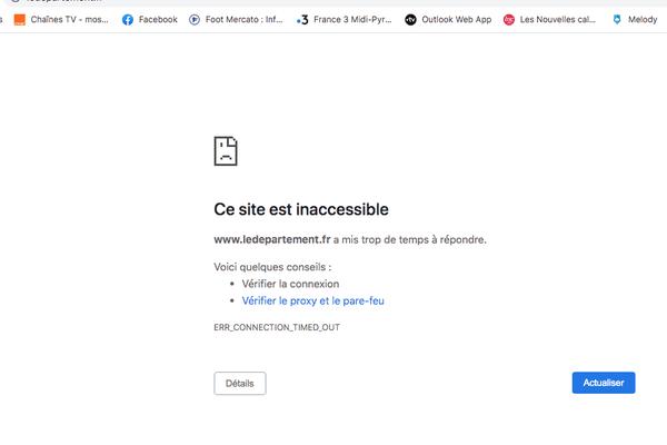 Le site www.ledepartement.fr n'est plus accessible.