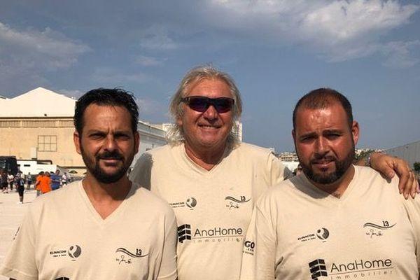 Marco Foyot et ses coéquipiers, Moineau et Maison lors de leur entrée en lice dans ce tournoi.