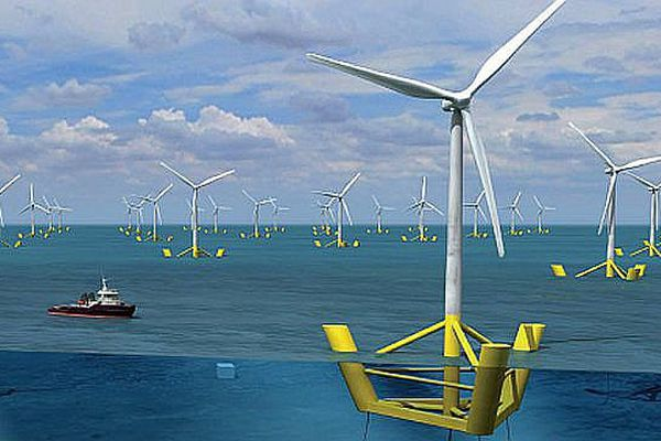 """Les 4 éoliennes flottantes prévues au large de Leucate pourraient devenir un """"champ"""" si le projet pilote est concluant."""