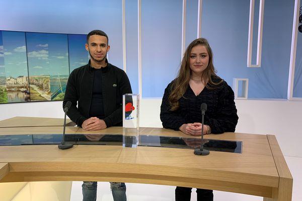 Anaïs Roix et Hakim Amandar, vainqueurs du prix Ilan Halimi, représentaient le lycée Les Bruyères de Sotteville-lès-Rouen ce mercredi 17 février sur le plateau de France 3 Haute-Normandie