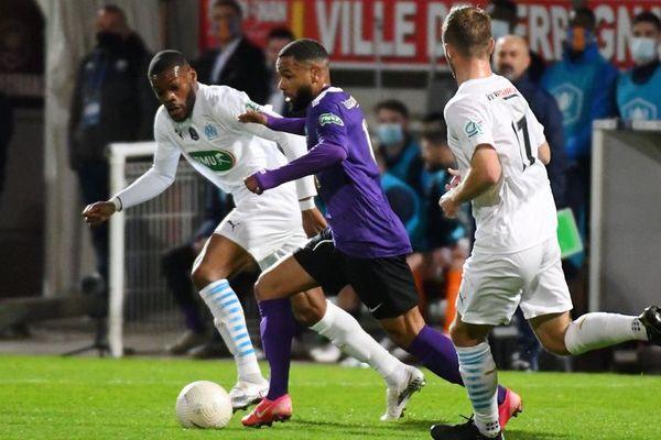 Perpignan - Yohan Baï marque le but de la victoire de Canet-en-Roussillon contre Boulogne-sur-Mer en Coupe de France - 7 avril 2021.