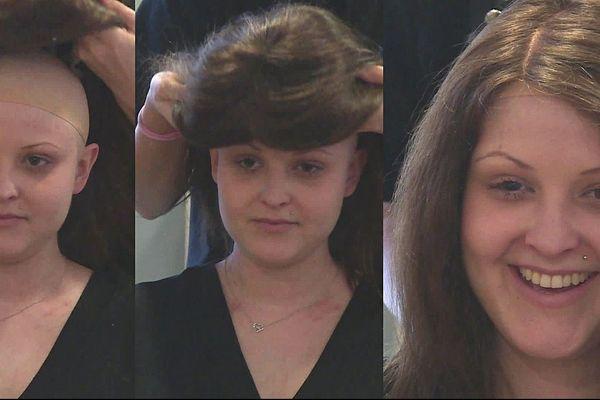 Laurie a accepté que le lycée de la coiffure de Lyon lui confectionne une perruque composée de cheveux naturels.