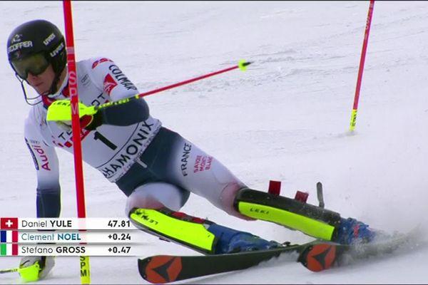 Clément Noël en 2e position du slalom à l'issue de la première manche à Chamonix samedi 08 février 2020.