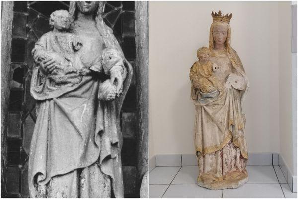 La statue volée, photographiée à gauche, et retrouvée des années plus tard, à droite.