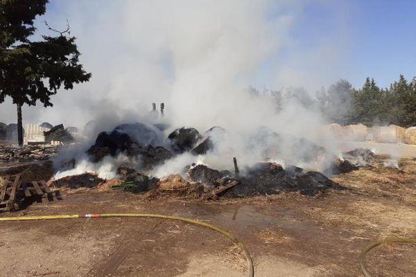 Sérignan (Hérault) : un hangar agricole rempli de fourrage en feu dans un centre équestre - 14 août 2020.