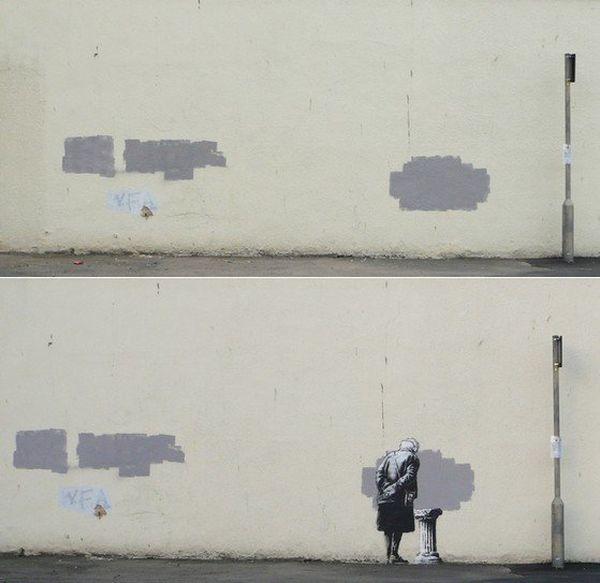 Avant, après... Banksy revendique le grafitti de Folkestone sur son site.