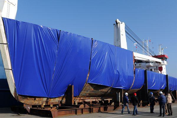 La Calypso, le 14 mars 2016, à Concarneau avant son départ pour la Turquie où elle doit être rénovée.