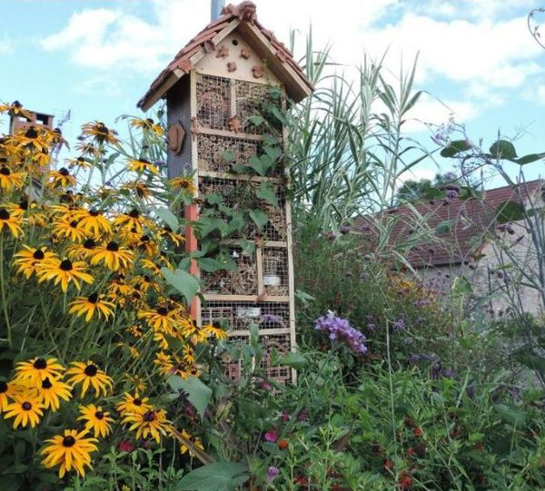 Hôtel des insectes installé à Saint Hilaire les Places.