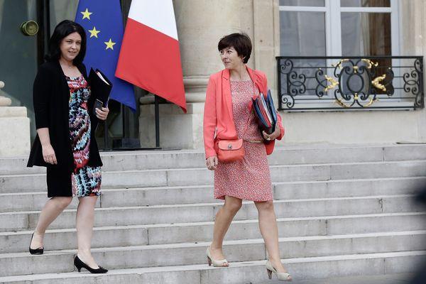 Sylvia Pinel (PRG) et Carole Delga (PS) à la sortie du conseil des ministres