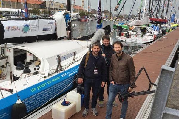 """L""""équipe de CSports depuis les pontons de la transat Jacques Vabre"""
