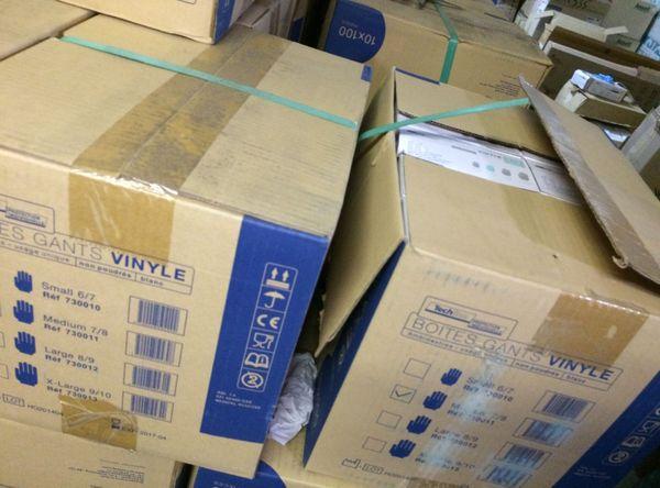 Une palette de gants jetables partira pour Carcassonne