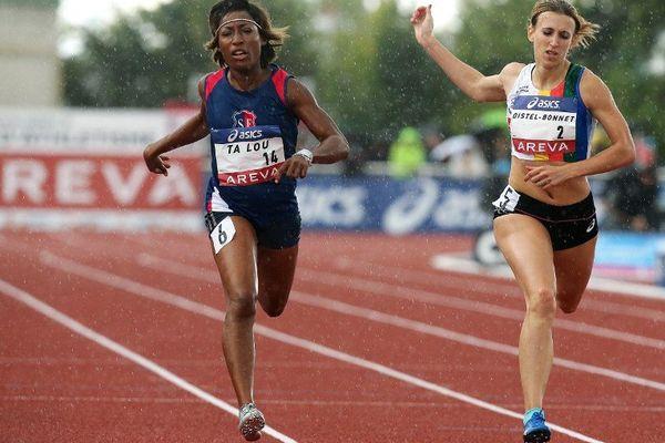 Céline Distel-Bonnet lors du 200 mètres des championnats de France 2014