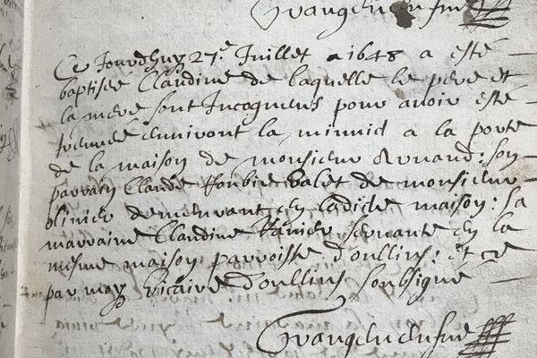 extrait d'un registre de baptême des archives de la Ville d'Oullins