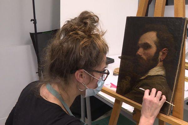 Nettoyage de cette huile sur toile de François Chifflart (1825-1901)