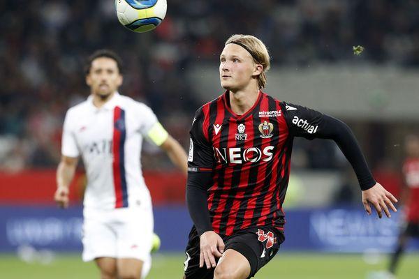 Kasper Dolberg, le 18/10/2019 joue contre le PSG en Ligue 1 à l'Allianz Riviera.