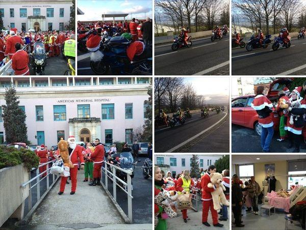 """Une bonne cinquantaine de motard du groupe des motards """"ballade moto rémoise 51"""" ont fait un don de jouets pour les enfants hospitalisés à Reims."""